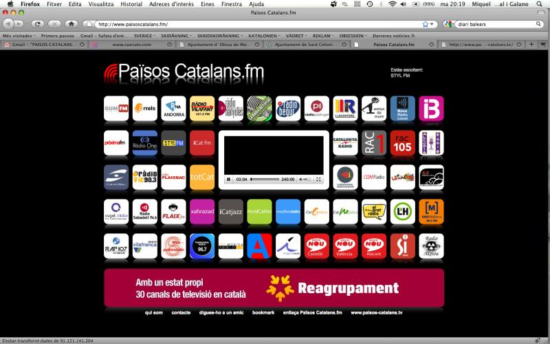 Emissores de ràdio i canals de televisió agrupats en un sol web