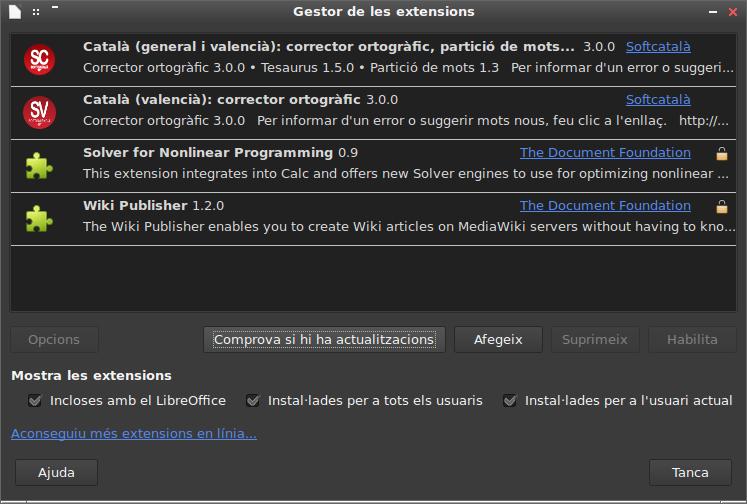 Captura del gestor de complements del LibreOffice