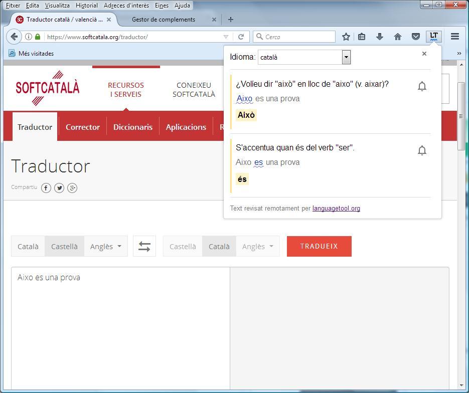 Imatge destacada 1 del Corrector gramatical en català LanguageTool per al Firefox