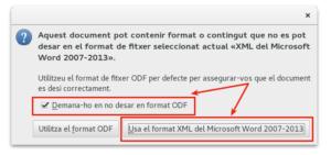 LibreOffice - Confirmació