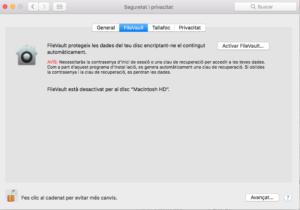 Menú del FileVault al macOS.