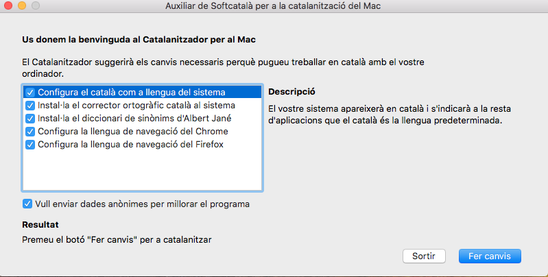 Captura de la interfície del Catalanitzador per a macOS.