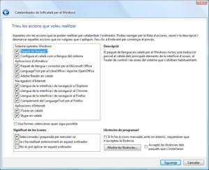 Finestra d'opcions del Catalanitzador al Windows.