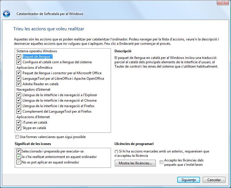 Captura de la interfície del Catalanitzador per al Windows.