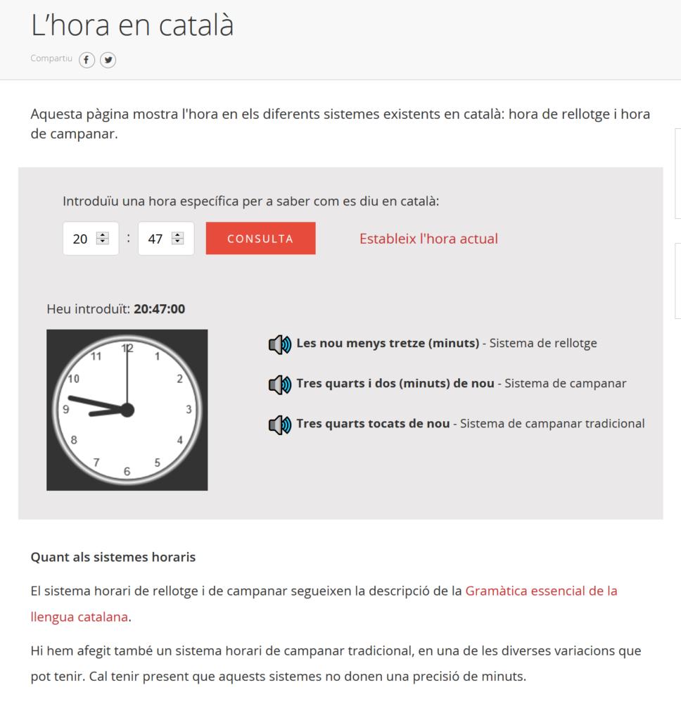 Captura del servei de l'hora en català