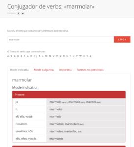 Captura del servei de conjugador de verbs